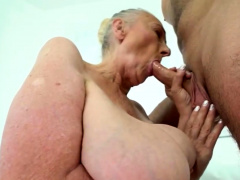 Huge 70plus granny tricks hunk into fucking her