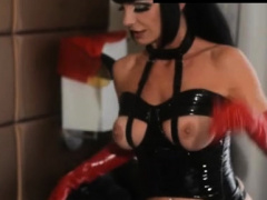 Evil domina chokes and kicks bound up thrall in the balls