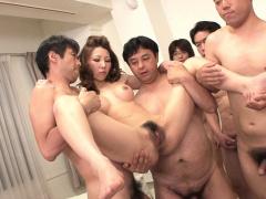 Japanese milf, Nagisa Kazami got gangbanged, zaftig