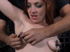 Beauty receives torture for her concupiscent shaved cookie