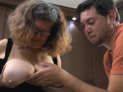 Pablo squirts his hot cum connected with oldie Brenda's ass cheeks