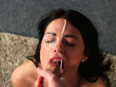 Feisty peach gets cumshot on her face sucking all the charge