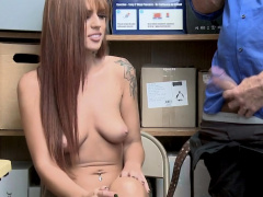 Perfect shoplifter redhead babe gets inspected by the guard