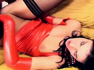 fetish sex in latex gloves fishnets and boots