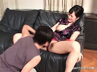 brunette asian gets cunt licked and fingered
