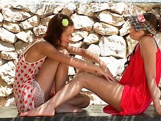 petite natasha shy and her lesbo gf sharing double dildo