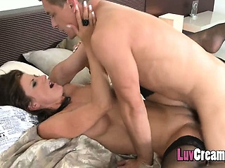 business woman fucked and giving her a dripping creampie